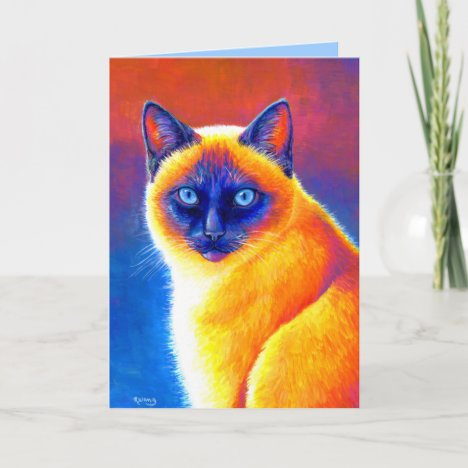 Colorful Rainbow Siamese Cat Greeting Card