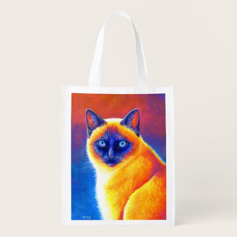 Colorful Rainbow Siamese Cat Grocery Bag