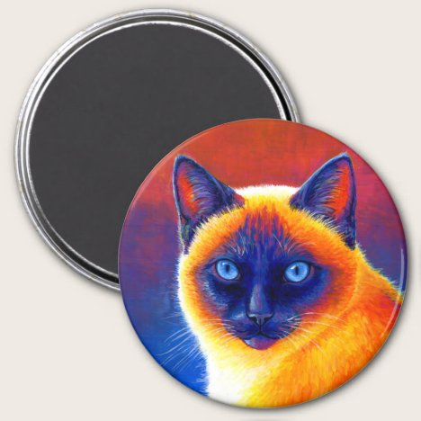 Colorful Rainbow Siamese Cat Magnet