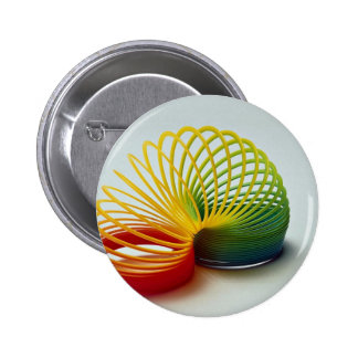 Colorful Rainbow slinky toy for kids Pinback Button