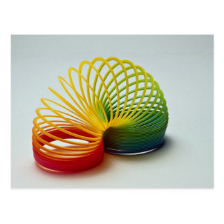 Colorful Rainbow slinky toy for kids Postcards