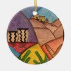 Colorful Rainbow Southwest Desert Christmas Ceramic Ornament