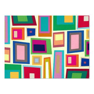 Colorful rainbow squares custom invite