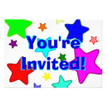 Colorful Rainbow Stars Personalized Invitations
