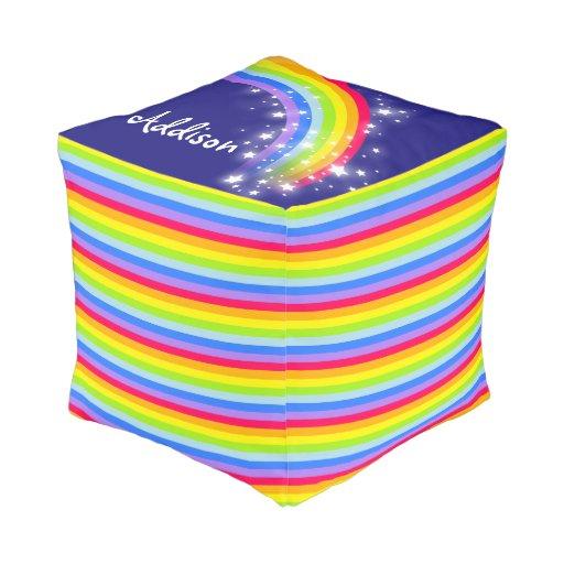 Colorful Rainbow Stripe Kids Name Square Pouf Zazzle