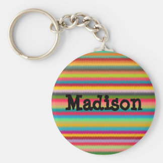 Colorful Rainbow Stripes Abstract Keychain