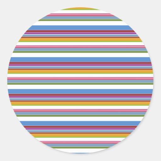 Colorful Rainbow Stripes Classic Round Sticker