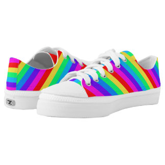 Colorful Rainbow Stripes Low-Top Sneakers