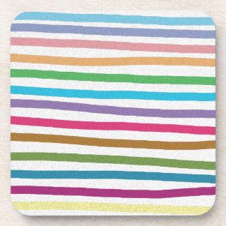 Colorful rainbow stripes pattern beverage coaster