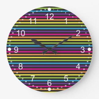 Colorful Rainbow Stripes Pattern Gifts for Teens Large Clock