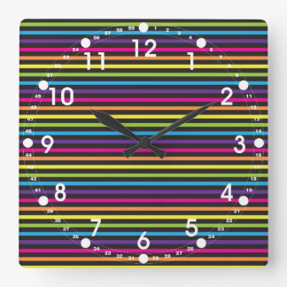Colorful Rainbow Stripes Pattern Gifts for Teens Square Wall Clock
