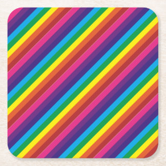 Colorful Rainbow Stripes Pattern Party Supplies Square Paper Coaster