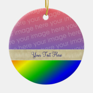 Colorful Rainbow Stripes Your Photo Ornament