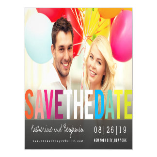 Colorful Rainbow Summer Save The Date Photo Card