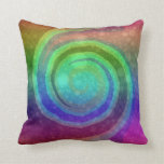 Colorful Rainbow Swirl Abstract Art Pillow