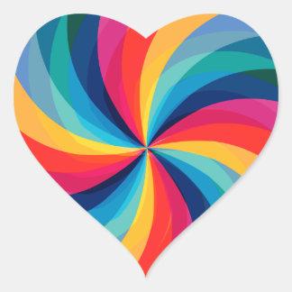 Colorful Rainbow Swirl Heart Sticker