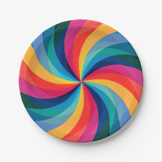 Colorful Rainbow Swirl Paper Plate