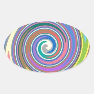 Colorful rainbow swirl pattern oval sticker