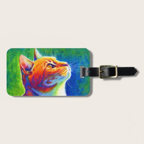 Colorful Rainbow Tabby Cat Luggage Tag