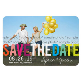 Colorful Rainbow Text Save The Date Photo Magnet