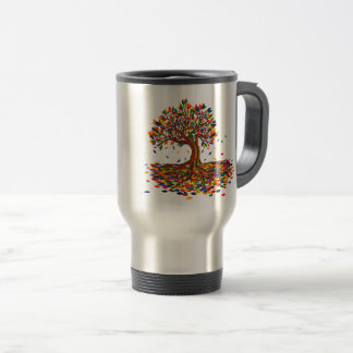 Colorful rainbow tree with bright colors travel mug