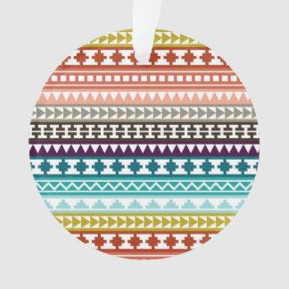Colorful Rainbow Tribal Aztec Pattern Ornament