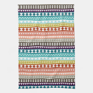 Colorful Rainbow Tribal Aztec Pattern Towels