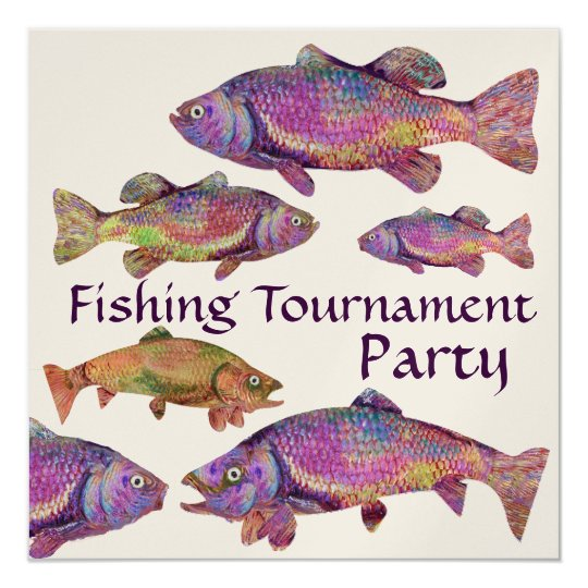 COLORFUL RAINBOW TROUT FISHING TOURNAMENT PARTY CARD