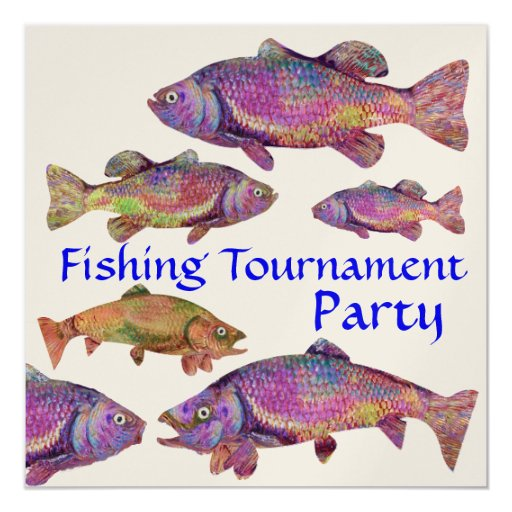 COLORFUL RAINBOW TROUT FISHING TOURNAMENT PARTY INVITATION