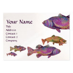 COLORFUL RAINBOW TROUT MONOGRAM, White Pearl Business Card