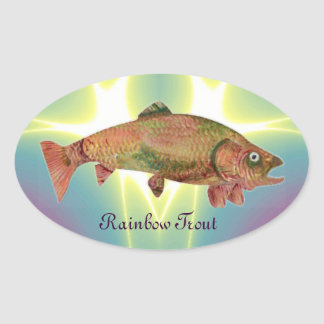 COLORFUL RAINBOW TROUT OVAL STICKERS