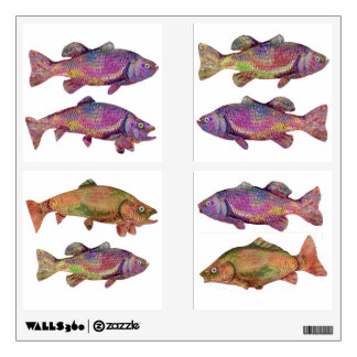COLORFUL RAINBOW TROUTS WALL STICKER