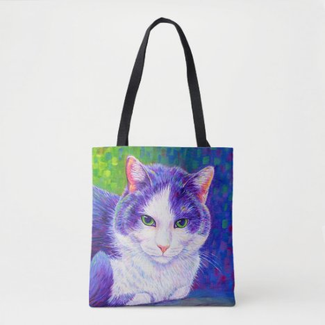 Colorful Rainbow Tuxedo Cat Cute Kitty Tote Bag