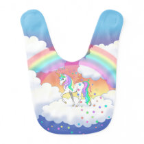 Colorful Rainbow Unicorn and Stars Bib