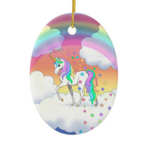 Colorful Rainbow Unicorn and Stars Ceramic Ornament