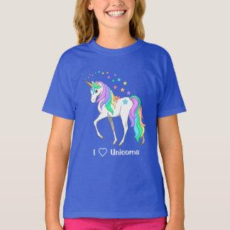 Colorful Rainbow Unicorn and Stars T-Shirt