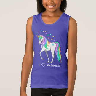 Colorful Rainbow Unicorn and Stars Tank Top