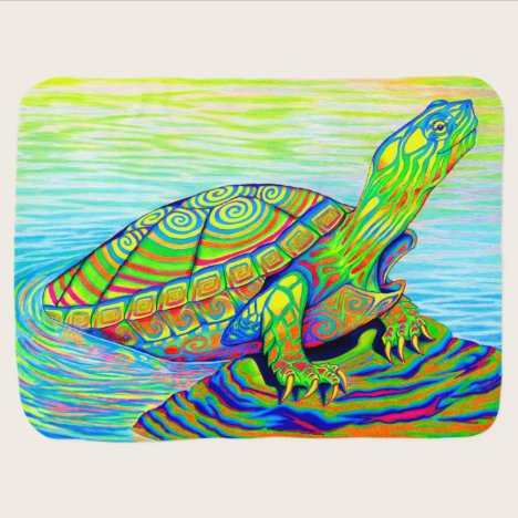 Colorful Rainbow Water Turtle Baby Blanket