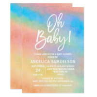 Colorful Rainbow Watercolor Oh Baby Shower Invitation