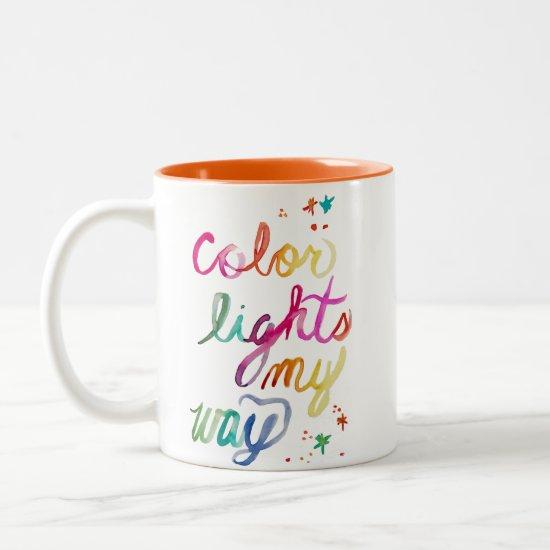 Colorful Rainbow Watercolor Script Art Bright Fun Two-Tone Coffee Mug