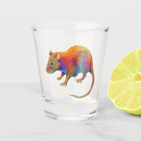 Colorful Rainbow Year of the Rat Shot Glass