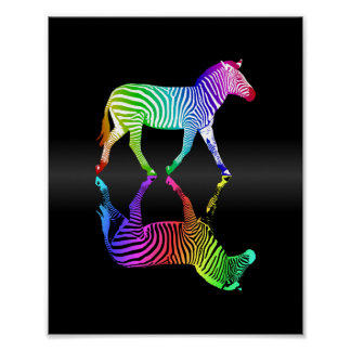 Colorful Rainbow Zebra Inversion Poster