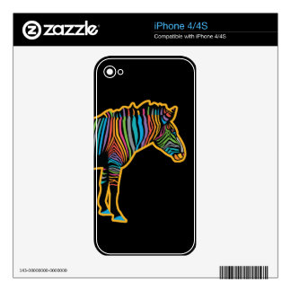 Colorful Rainbow Zebra iPhone 4 Skin