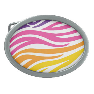 Colorful Rainbow Zebra Print Pattern Gifts Oval Belt Buckles