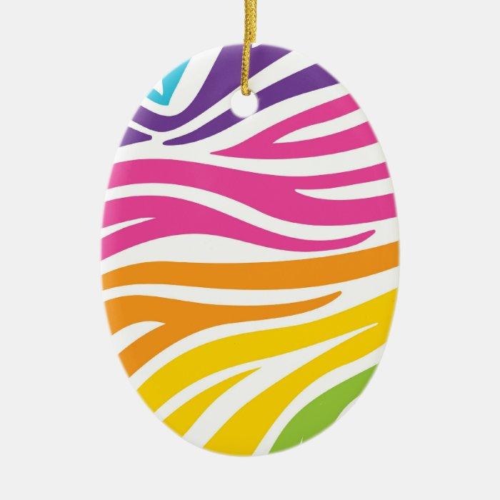 Colorful Rainbow Zebra Print Pattern Gifts Ceramic Ornament
