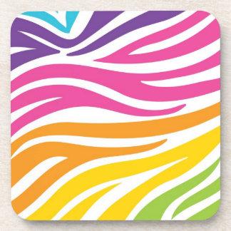 Colorful Rainbow Zebra Print Pattern Gifts Coaster