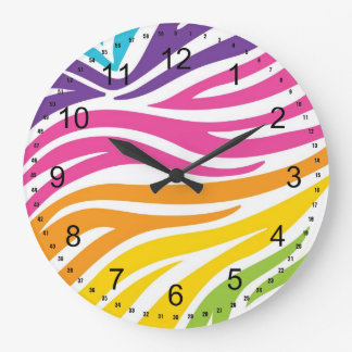 Colorful Rainbow Zebra Print Pattern Gifts Large Clock