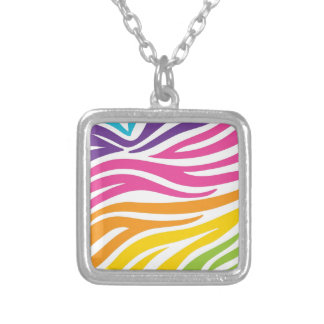 Colorful Rainbow Zebra Print Pattern Gifts Necklaces