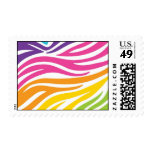Colorful Rainbow Zebra Print Pattern Gifts Postage Stamp