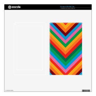 Colorful Rainbow Zig Zag Chevron Kindle Fire Decals